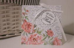 Kartka ślubna kwiaty delikatna handmade