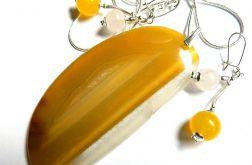 Żółte agaty, wisior i kolczyki, zestaw