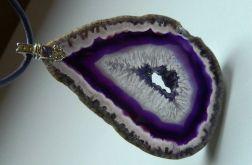 Fioletowy agat z kryształem, duży wisior