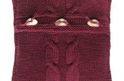 Poszewka robiona na drutach - bordo