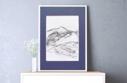 czarno-biały rysunek góry, Szkic górski n6
