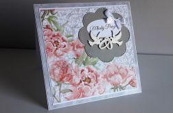 Kartka ślubna gołąbki kwiaty