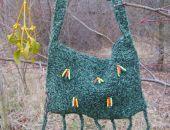 Torebka boho - zielona z frędzlami