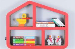 Półka na książki zabawki DOMEK | czerwony