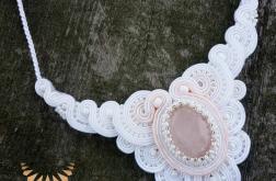 Naszyjnik sutasz biel ecru roz slub