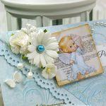 Pamiątka Chrztu św- baby blue