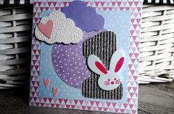 Kartka na Roczek urodziny jedynka króliczek