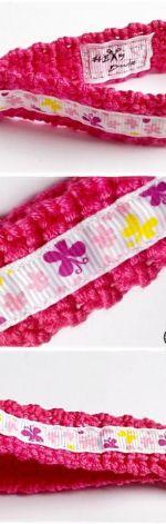 Breloczek szydełkowy - Różowe motylki