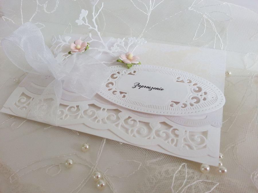 Ażurowe zaproszenie na ślub -