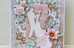Kartka ślubna różowo-miętowa