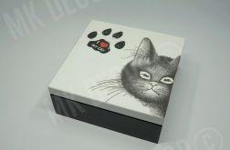Drewniana szkatułka/pudełko kwadratowe KOT
