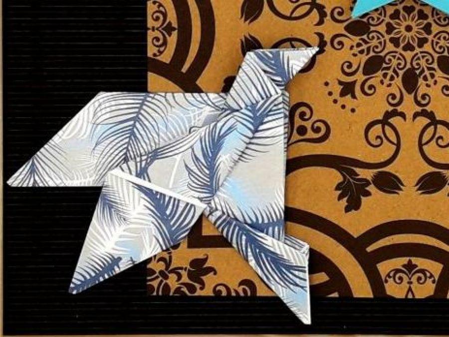 Obrazek origami wiszący drewniana ramka Ptaki - Zbliżenie1