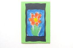 Kartka zielona  z kwiatkiem 18