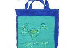 Grantowa torba z ptaszkiem, eko torba