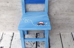niebieskie krzesełko z oparciem auto
