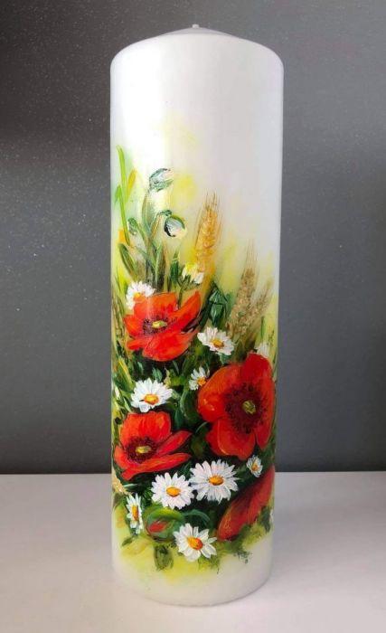 Świeca ręcznie malowana-maki
