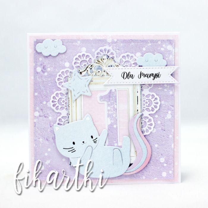 Kartka urodzinowa z kotkiem na Roczek KU2108 - urodzinowa z kotem