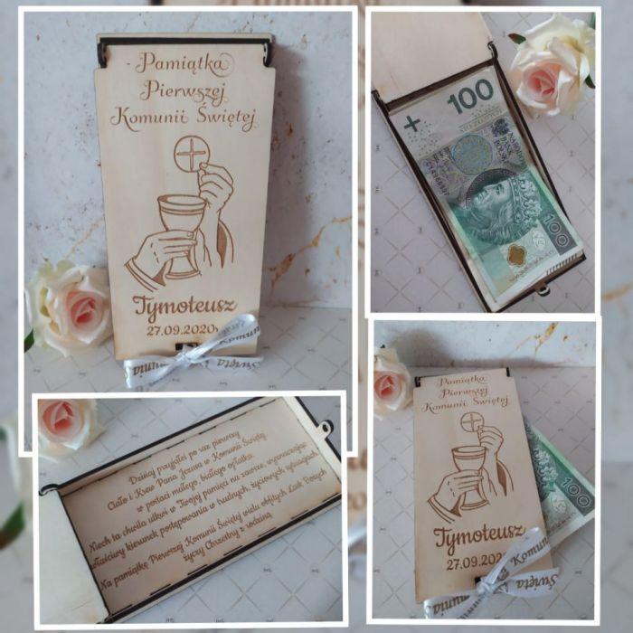 Pamiątka Pierwszej Komunii - drewniane pudełko na pieniądze z życzeniami