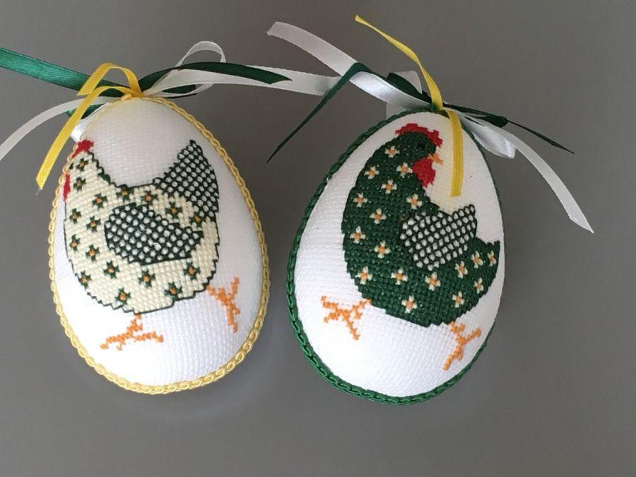 Pisanki haftowane kurki żółto-zielone