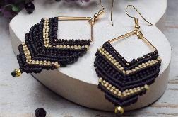 Długie, geoemtryczne kolczyki czarno złote