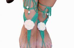 Ozdoba na stopy - zieleń i biel sandałki ;o)