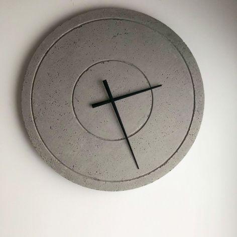 Zegar Ścienny z Betonu Groove Szary 60 cm