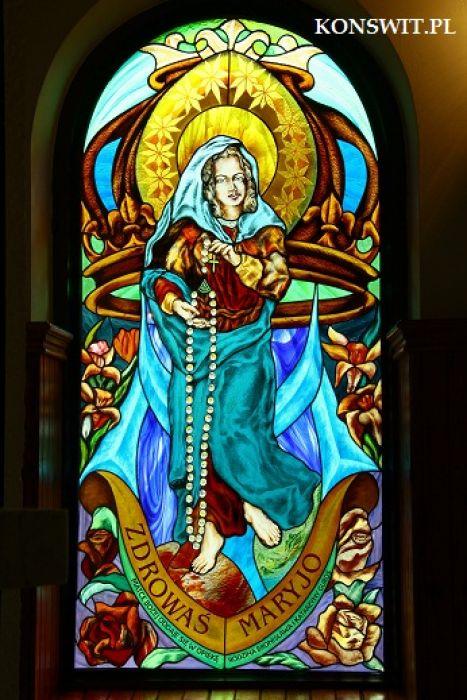 Witraże  sakralne figuralne - Matka Boża Różańcowa