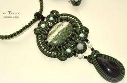 wisior sutasz-unikat opal i reinbow obsydian
