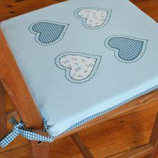 4 poduszki na krzesła błękitne serca