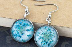 Kolczyki z suszonymi kwiatami niebieskie