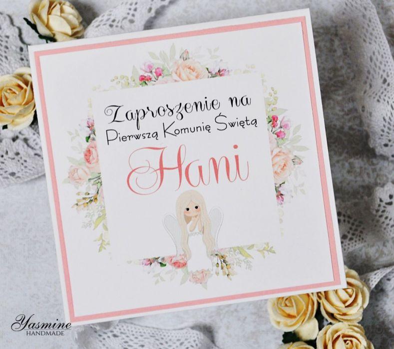 Zaproszenia komunijne z kwiatami -