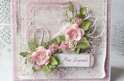 Pastelowa kartka z kwiatami 2