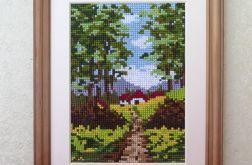 """Obraz haftem malowany """"Pezaż z drzewami"""""""