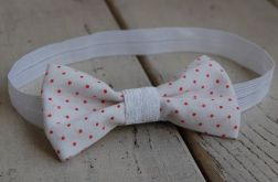 Opaska niemowlęca - Biała w czerwone kropeczki