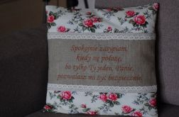 Poszewka - Angielskie róże z wierszem