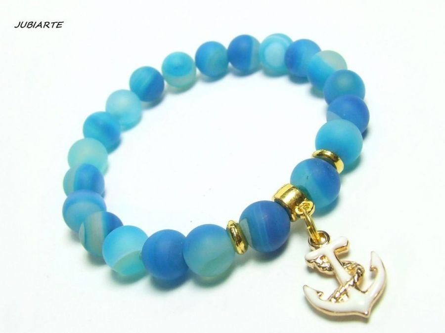 BLUE MARINA - bransoletka z agatów -