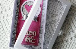 Kartka ślubna z pudełkiem w zestawie