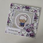 Kartka na Dzień babci kwiaty fioletowe -