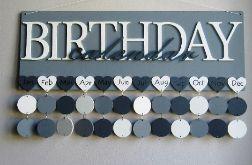 Kalendarz rodzinny, kalendarz urodzin, drewniany kalendarz, dowolne kolory i napisy 01