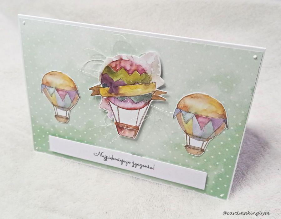 Kartka urodzinowa lub imieninowa z motywem balonów - Stojąca