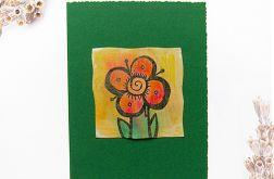 Kartka  ciemnozielona z kwiatkiem  1