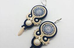 Granatowo-kremowe z perłami Swarovski