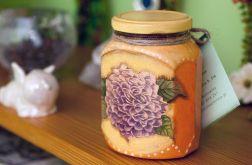Pojemnik szklany, słoiczek w kwiaty