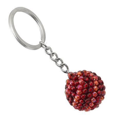 Brelok koralikowy kula czerwona