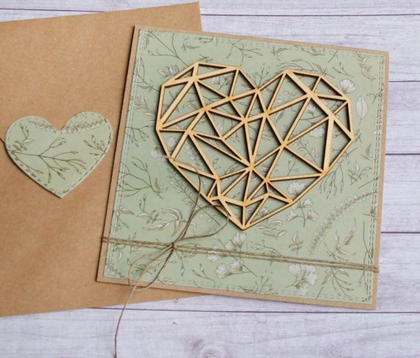 kartka ślubna, miłosna. geometryczne serce II
