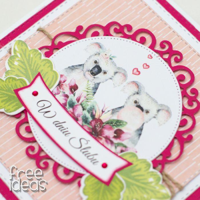 Egzotyczna kartka ślubna koala KS1931