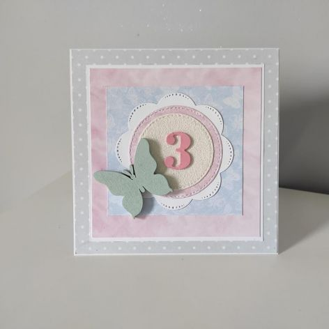 Kartka Roczek urodziny 2,3.. ręcznie robiona motylek