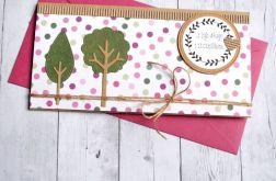 kartka kopertówka - drzewka - pink dots
