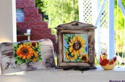 Rustykalna szafka na klucze, słoneczniki