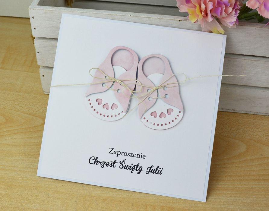 ZAPROSZENIA na chrzest - różowe buciki -